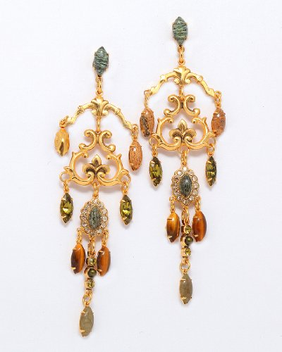 24K Yellow Gold Plated Dainty Dangle Earrings from 'Transformation' Collection by Amaro Jewelry Studio Adorned with Labradorite, Abalone, Jasper, River Stone, Tiger's Eye and Swarovski Crystals