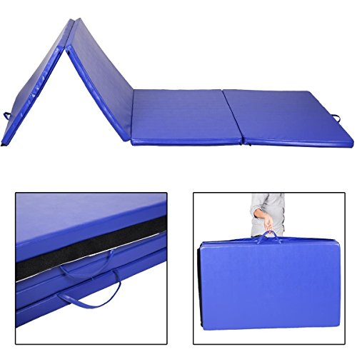 "Goplus Blue 4'x10'x2"" Portable Folding Panel Gymnastics Tumbling Martial Arts Exercise Stretching Yoga Gym Fitness Folding Mat"