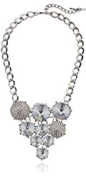 """Steve Madden """"Glitz Glam"""" Pave and Crystal Faceted Bead Cluster Necklace"""