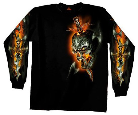 Hot Leathers Electric Skull Long Sleeve T-Shirt (Black, Large)