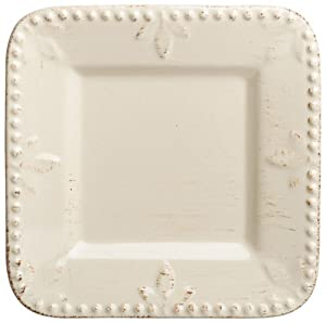 Signature Housewares Sorrento Collection, 6-Inch Square Plates, Ivory Antiqued Finish, Set of 6