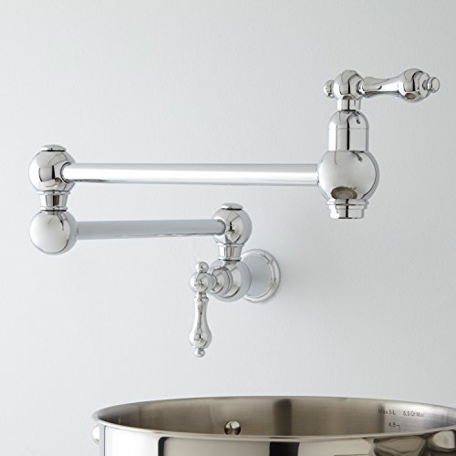 21 Pot Filler, Wall Mount, Classic, Traditional, Vintage, Retractable, Double Joint Spout, Polished Chrome Model:
