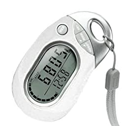 Pedusa PE-771 Tri-Axis Multi-Function Pocket Pedometer (White with Holster/Belt Clip)