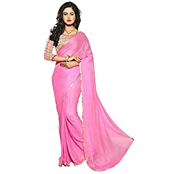 Mahadev Enterpris Women's Nazmeen Pink Weaving Border Plain Saree With Net Embroiered Work Unstitched Blouse Piece ( Pink, Freesize , MAK_07)