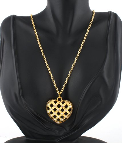 Ladies Gold Iced Out Basket Weave Heart Style Pendant with a 27 Inch Link Chain Necklace
