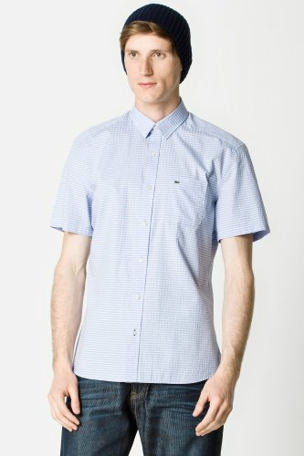 Short Sleeve Slim Fit Cotton Twill Check Shirt
