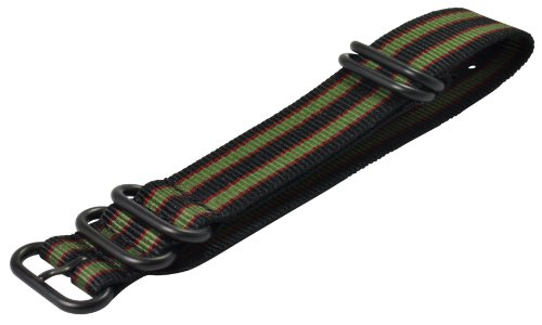 Clockwork Synergy - 5 Ring Heavy NATO PVD BlackWatch Strap Bands (20mm, Black / Green / Red)