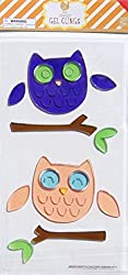 Cute Owls on a Branch Gel Window Clings - 14 Pieces