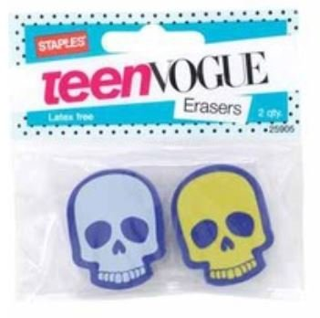 Staples Teen Vogue Latex Free Shaped Erasers ~ Set of 2 (Yellow-Green & Light Purple Skulls)