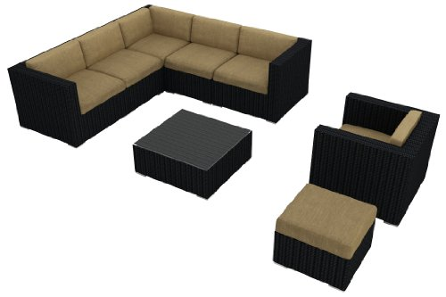 Harmonia Living Luxe Urbana 8 Piece Modern Outdoor Wicker Sofa Sectional Set With Tan Sunbrella Cushions (Sku Hl-Urbn-8Sect-Hb)