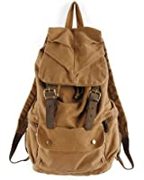 Koolertron Vintage Canvas Leather Hiking Travel Military Backpack Messenger Tote Bag Video Portable Carry Case for Sony Canon Nikon Olympus DSLR ipad 2 ipad 3 mini ipad Google NEXUS 10 SamSung Galaxy Note 10.1 N8000 Microsoft Surface 10 inch Tablet PC (brown)