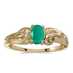 10k Yellow Gold Oval Emerald And Diamond Ring (Size 7)