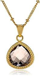 Coralia Leets Jewelry Design 12mm Braided Smokey Quartz Gold Pendant Necklace