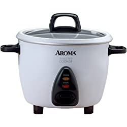Aroma Housewares 3-Cup (Cooked) Pot Style Rice Cooker and Food Steamer, White