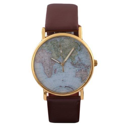 HACBIWA Global Fashion Unisex Men Women Lady Girls World Map Brown Leather Alloy Analog Quartz watches