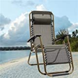 Outdoor Folding Sun Garden Lounger Recliner Relax Armrest Chair