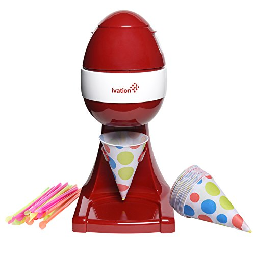 Electric Ice Shaver Kit, Snow Cone Maker & Icee Crusher Includes: Shaved Ice Machine + Cone Cups and Straws (Red) (Snow Cone & Ice Shavers compare prices)