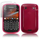 BLACKBERRY BOLD 9900 HOT PINK GEL SKIN CASE / COVER + SCREEN PROTECTOR PART OF THE QUBITS ACCESSORIES RANGEby Qubits
