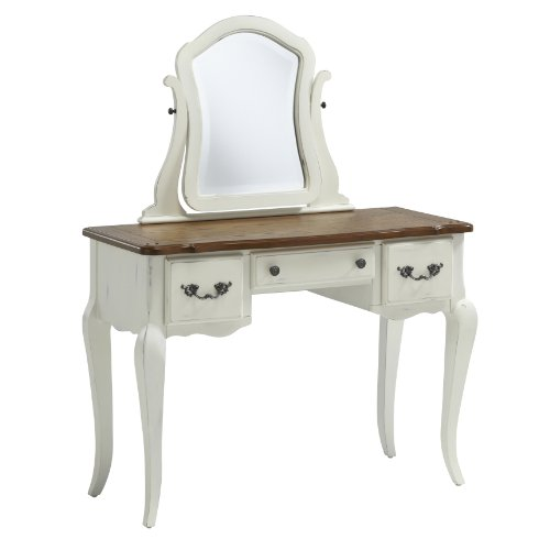 White Bedroom Vanity With Mirror front-61520