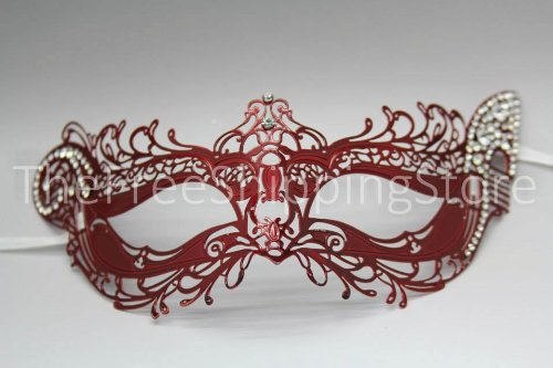 Royal Princess Red Laser Cut Venetian Masquerade Mask with Sparkling Diamonds