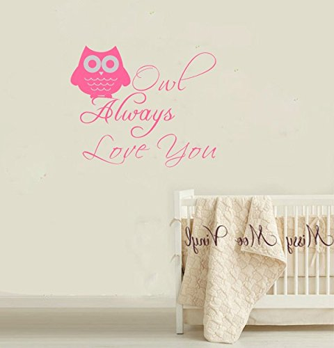 Owl Always Love You Wall Art Quote For Nursery Kid'S Room Owl Decor Decal Vinyl Letters Multiple-Color Available Baby Boys Girl'S Wall Saying Decor Mural (Pink) front-465550