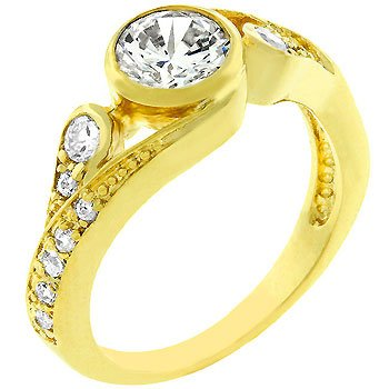 14k Gold Bonded Anniversary Style Women's Ring Band with Clear CZ Center Stone in Bezel Setting and Flanked by Smaller CZ on Its Shoulders in Goldtone Jewelry (6)
