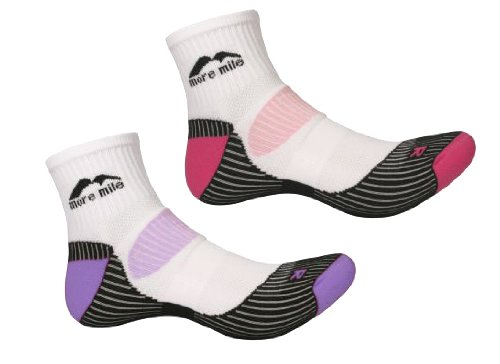 Womens TWO PAIR PACK More Mile cushioned LONDON running sock