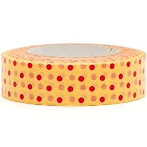 orange Washi Masking Tape deco tape red dots