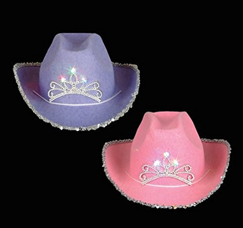 12 Adult Blinking Cowboy Cowgirl Tiara Hats Party Fun