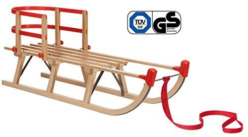 Impag® Holzschlitten Rodelschlitten mit Zuggurt und Lehne Rot Davos 105 cm lang