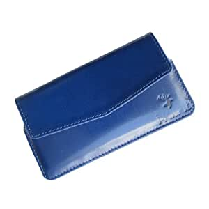 i-KitPit : Genuine Leather Pouch Case Cover For Nokia XL Dual SIM (BLUE)