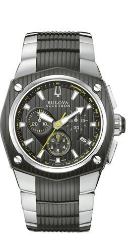 Bulova Accutron Corvara Chronograh Black Dial Mens Watch 63B111