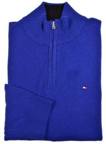 Tommy Hilfiger Blue Cotton Half Zip Sweater X-Large XL Euro 54 | Sweater Center - Ao Len Dep