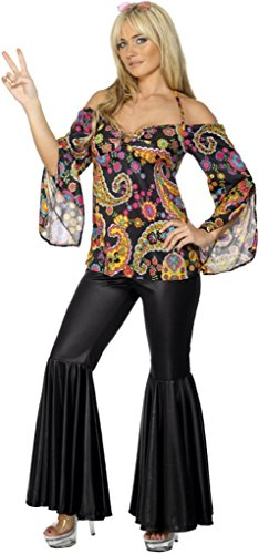 Smiffy's Women's Hippie Costume Female with Patterned Top and Flared Trousers, Multi, Medium