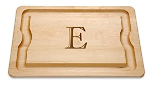 "J.K. Adams 20-Inch-by-14-Inch Maple Wood Monogrammed BBQ Cutting Board, ""E"""