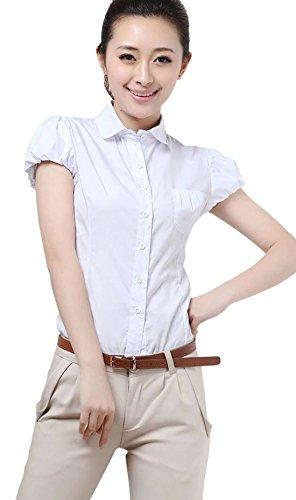 Chouyatou Women's Work-Wear Short Puff Sleeve Button Shirt Tops (Large, White)