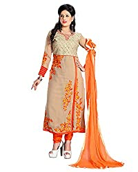 ZHot Fashion Women's Embroidered Un-stitched Dress Material In Georgette Fabric (ZH1015) Beige