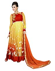 Jiya Presents Multi Embroidered And Embellished Net,Satin Anarkali Semi-Stitched Dress Material(Yellow, Red,Yellow)
