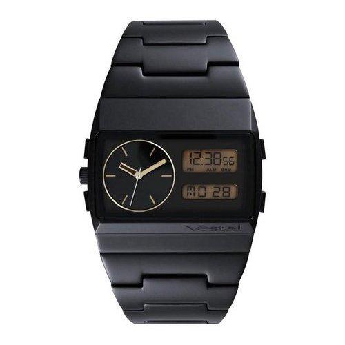 Vestal Men's MMC030 Metal Monte Carlo Ana-Digi Gold Dial Black IP Watch