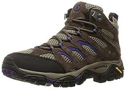 Merrell Women\'s Moab Ventilator Mid Hiking Boot, Bracken/Purple, 9 W US