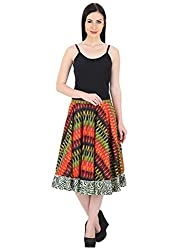 Woodin Printed Regular fit Cotton A Line Skirt for Women