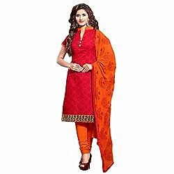 Anusha Women's Cotton Dress Material (400006_Red)