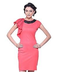 VeaKupia Women's Asymmetric Regular Fit Dress (Red, 36)