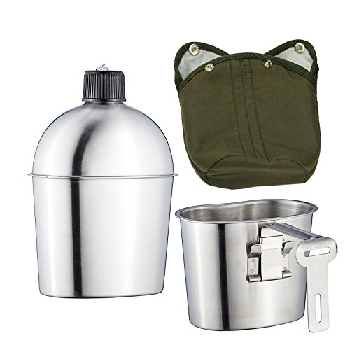 Pinty Military Stainless Steel 1L Canteen with 0.6L Cup G.I. Army Green Nylon Cover