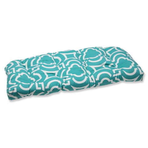 Pillow Perfect Outdoor Carmody Peacock Wicker Loveseat Cushion image