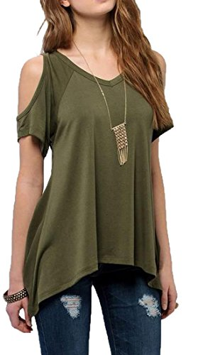 Sheng-Xi-Womens-V-Neck-Handkerchief-Hem-Raglan-Sleeve-Tunic-Shirt