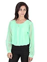Ethnic For You Fresh Mint Green Georgette Fancy Top