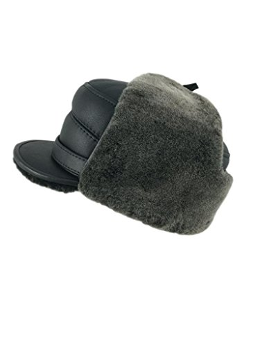 zavelio-mens-shearling-sheepskin-elmer-fudd-captain-visor-hat-xx-large-black