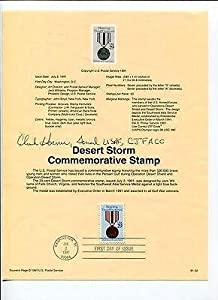 General Chuck Horner Desert Storm Air Force Commander Signed Autograph FDC Sheet - College Cut Signatures