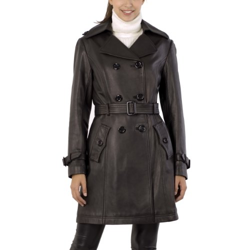 Jessie G. Women's Belted New Zealand Lambskin Leather Trench Coat - Black L